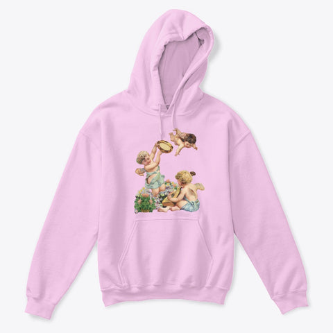 Kids Hoodie Sweatshirt with Cherubs Playing Music