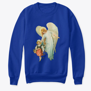 Kids Crewneck Sweatshirt with Guardian Angel Watching Over Girl