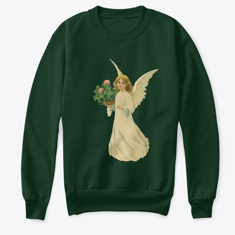 Kids Crewneck Sweatshirt with Angel and Four Leaf Clover