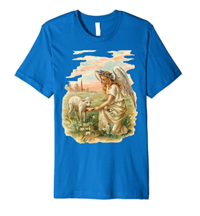 Unisex Cotton Tee T-shirt with Antique Angel Feeding a Lamb Art Print