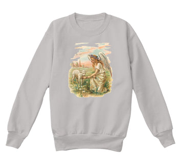 Kids Crewneck Sweatshirt with Antique Angel Feeding a Lamb