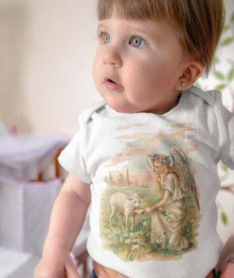 Classic Cotton Baby Bodysuit with Antique Angel Feeding a Lamb Art Print