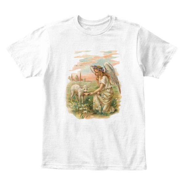 Mythic Art Clothing Kids Cotton Tee Classic T-Shirt with Antique Angel Feeding a Lamb White Front