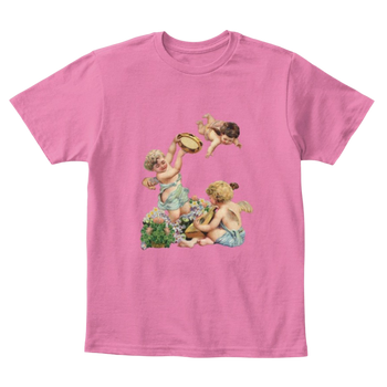 Mythic Art Clothing Kids Cotton Tee Classic T-Shirt with Cherubs Playing Music Art Print True Pink Front