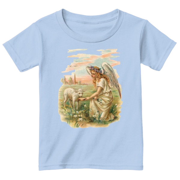 Mythic Art Clothing Toddler Classic Cotton Tee Angel Feeding a Lamb Print Light Blue Front