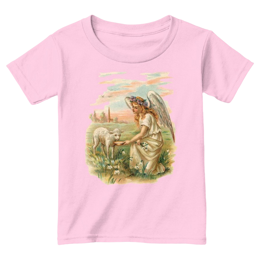 Mythic Art Clothing Toddler Classic Cotton Tee Angel Feeding a Lamb Print Light Pink Front