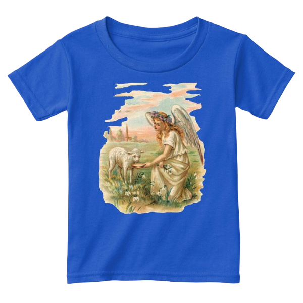 Mythic Art Clothing Toddler Classic Cotton Tee Angel Feeding a Lamb Print Royal Front