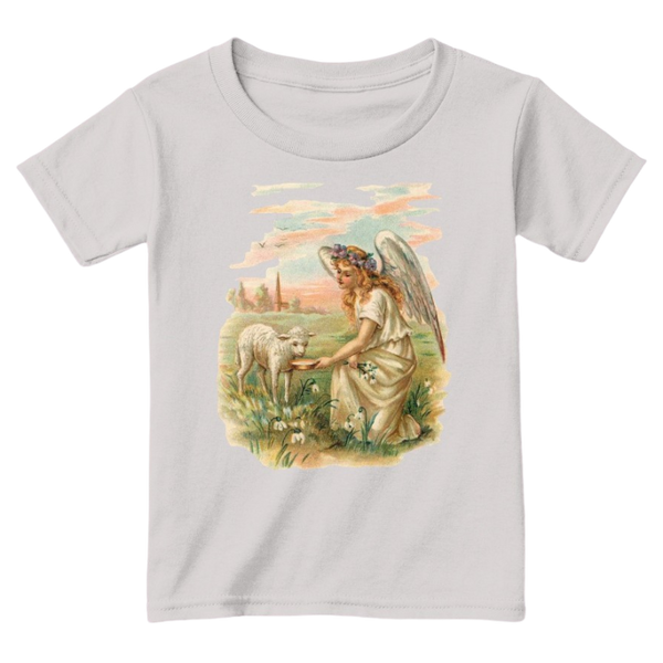 Mythic Art Clothing Toddler Classic Cotton Tee Angel Feeding a Lamb Print Sport Grey Front