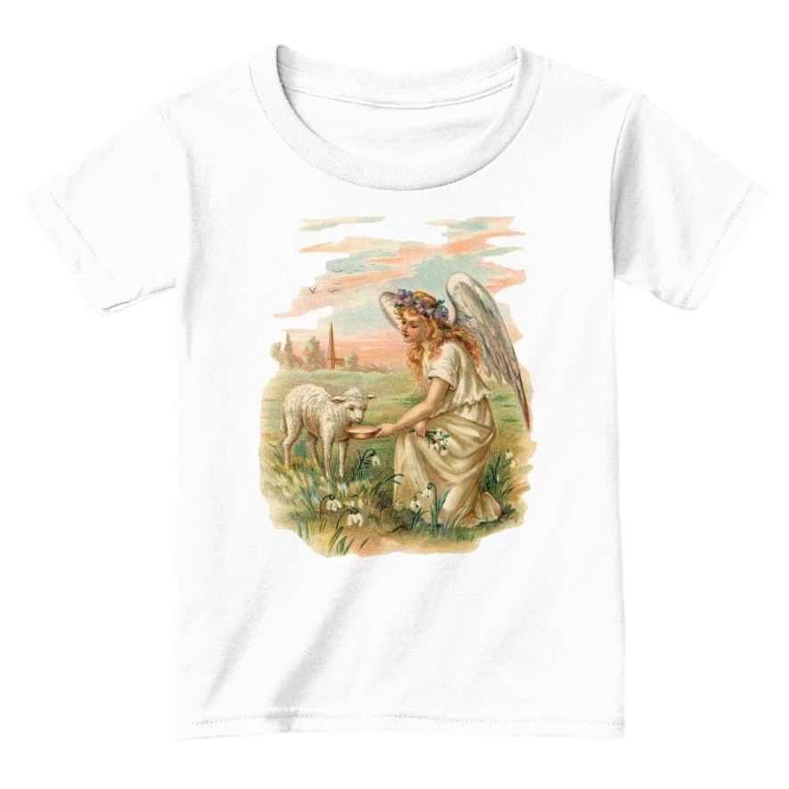 Mythic Art Clothing Toddler Classic Cotton Tee Angel Feeding a Lamb Print White Front