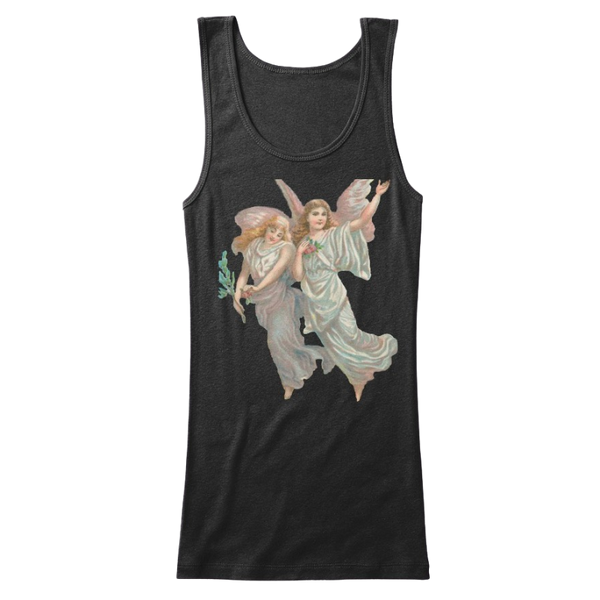 Mythic Art Clothing Womens Cotton Tank Top with Heavenly Angel Art Print Black Front