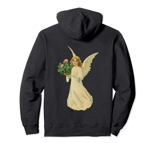 Pullover Hoodie Sweatshirt with Angel and Clover Black