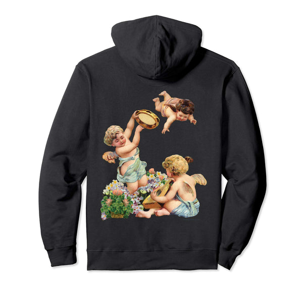 Unisex Pullover Hoodie Sweatshirt with Cherubs Playing Music Black