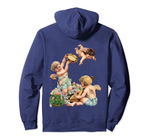 Unisex Pullover Hoodie Sweatshirt with Cherubs Playing Music Navy