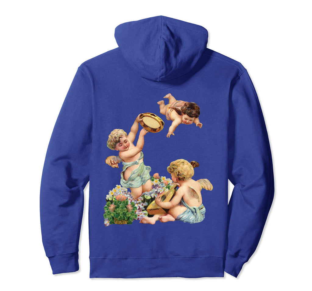 Unisex Pullover Hoodie Sweatshirt with Cherubs Playing Music Royal Blue
