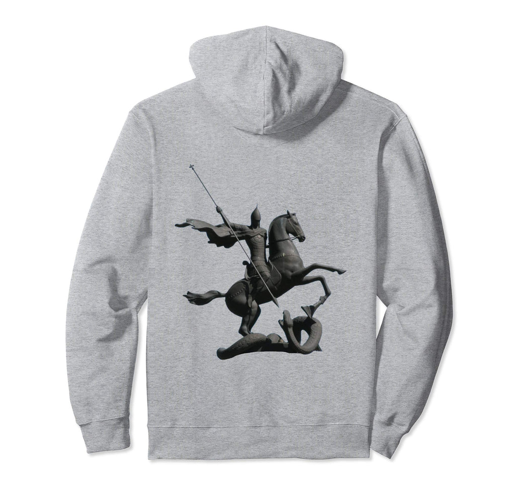 Pullover Hoodie Sweatshirt with Saint George and the Dragon Grey
