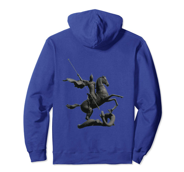 Pullover Hoodie Sweatshirt with Saint George and the Dragon Royal Blue