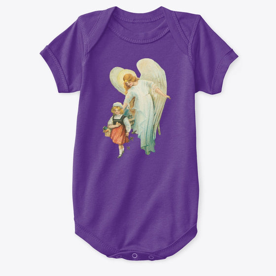 Classic Cotton Baby Bodysuit with Guardian Angel and Girl Art Print Purple