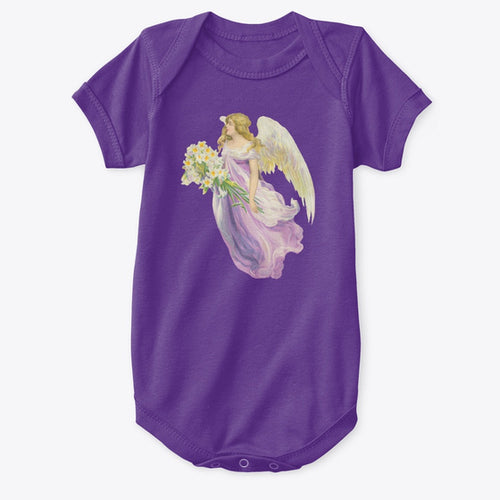 Classic Cotton Baby Bodysuit with Angel and Lilies Art Print Purple