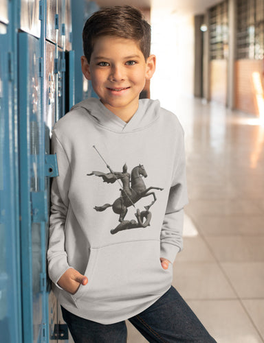 Kids Hoodie Sweatshirt with Saint George and the Dragon Print