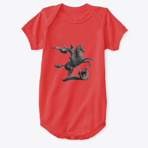 Classic Cotton Baby Bodysuit with St George and the Dragon Art Print Red