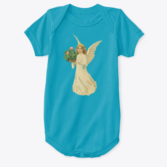 Classic Cotton Baby Bodysuit with Angel and Clover Art Teal