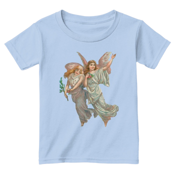 Mythic Art Clothing Toddler Classic Cotton Tee with Heavenly Angel Art Print Light Blue Front