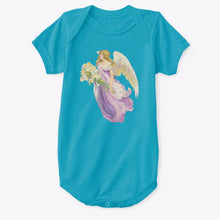 Classic Cotton Baby Bodysuit with Angel and Lilies Art Print Turquoise