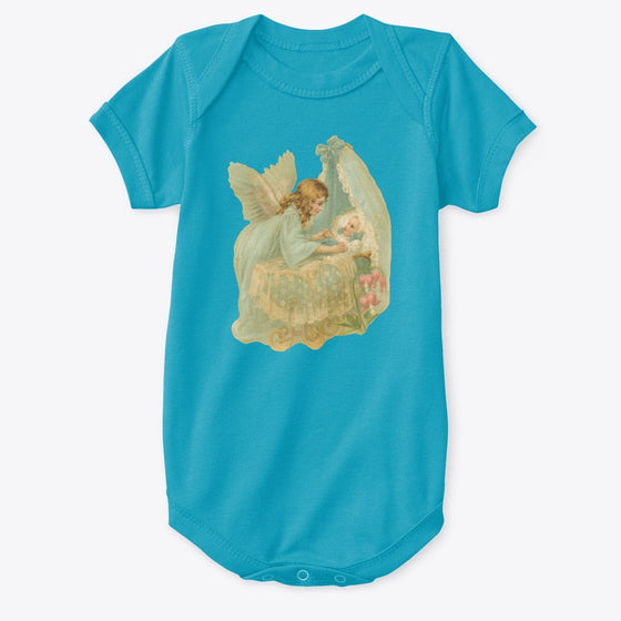 Classic Cotton Baby Bodysuit with Angel over Bassinet Art Print Turquoise