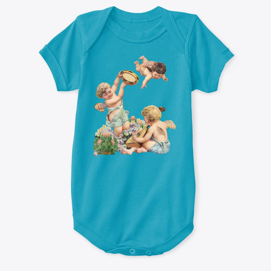 Classic Cotton Baby Bodysuit with Cherubs Playing Music Art Print Turquoise