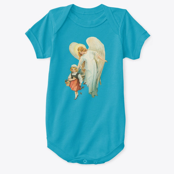 Classic Cotton Baby Bodysuit with Guardian Angel and Girl Art Print Turquoise