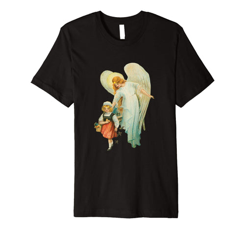 Unisex Cotton Tee Premium T-shirt Guardian Angel with Girl Black