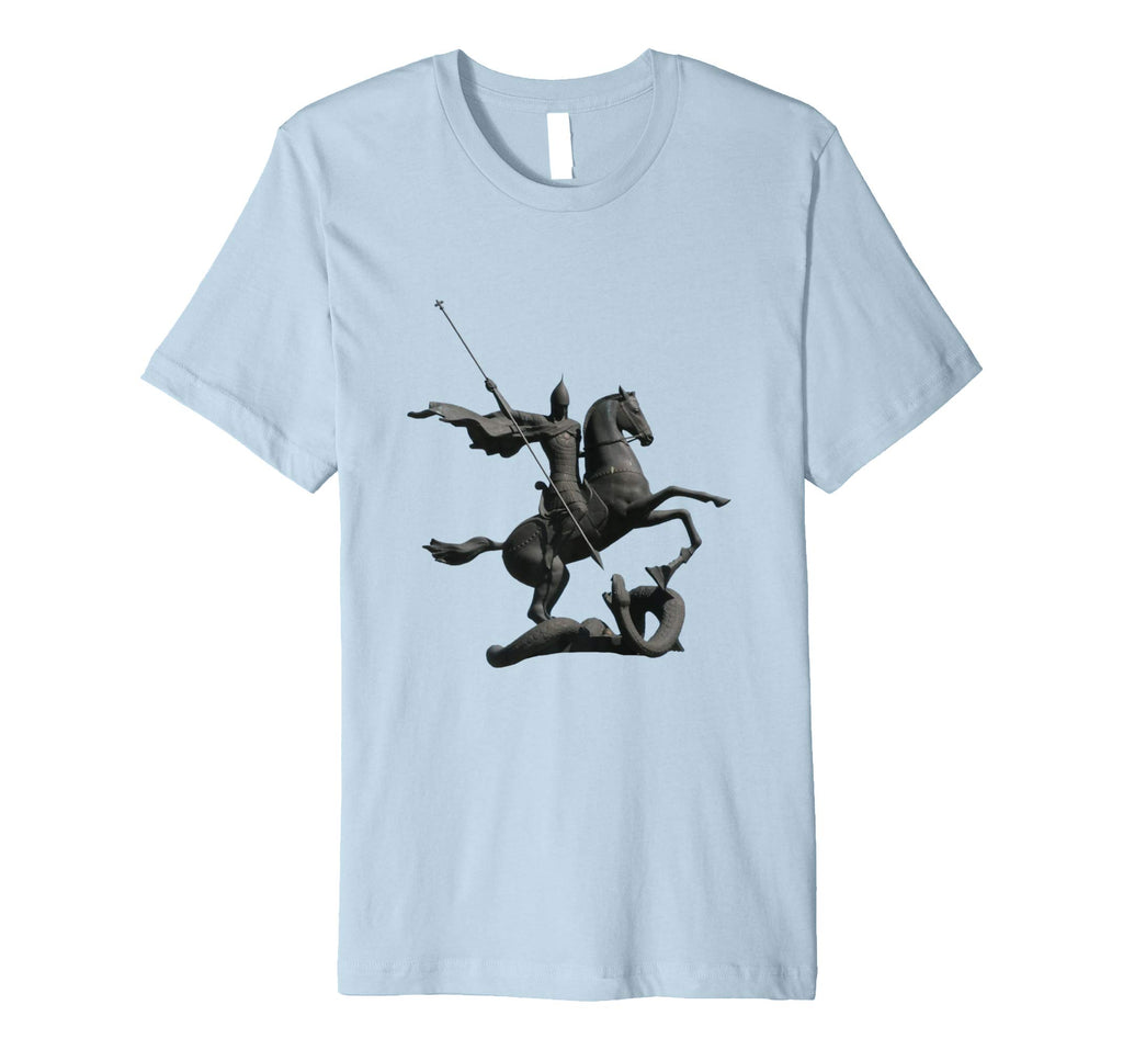 Unisex Cotton Tee Premium T-shirt Saint George and Dragon Baby Blue