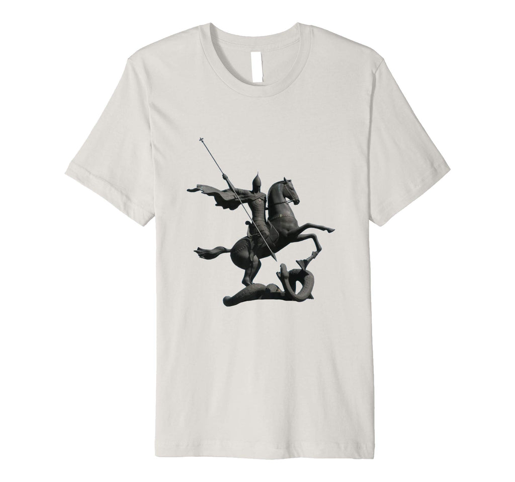 Unisex Cotton Tee Premium T-shirt Saint George and Dragon Silver