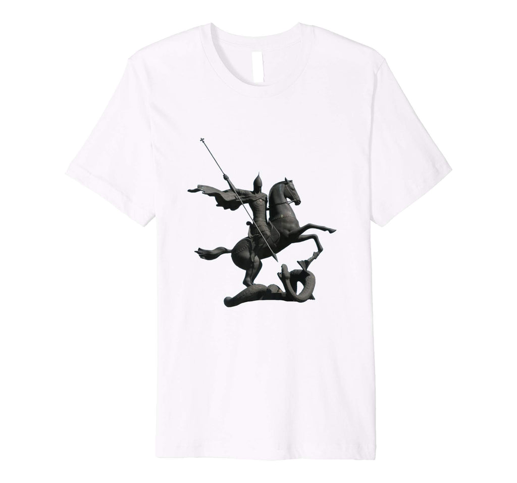 Unisex Cotton Tee Premium T-shirt Saint George and Dragon White