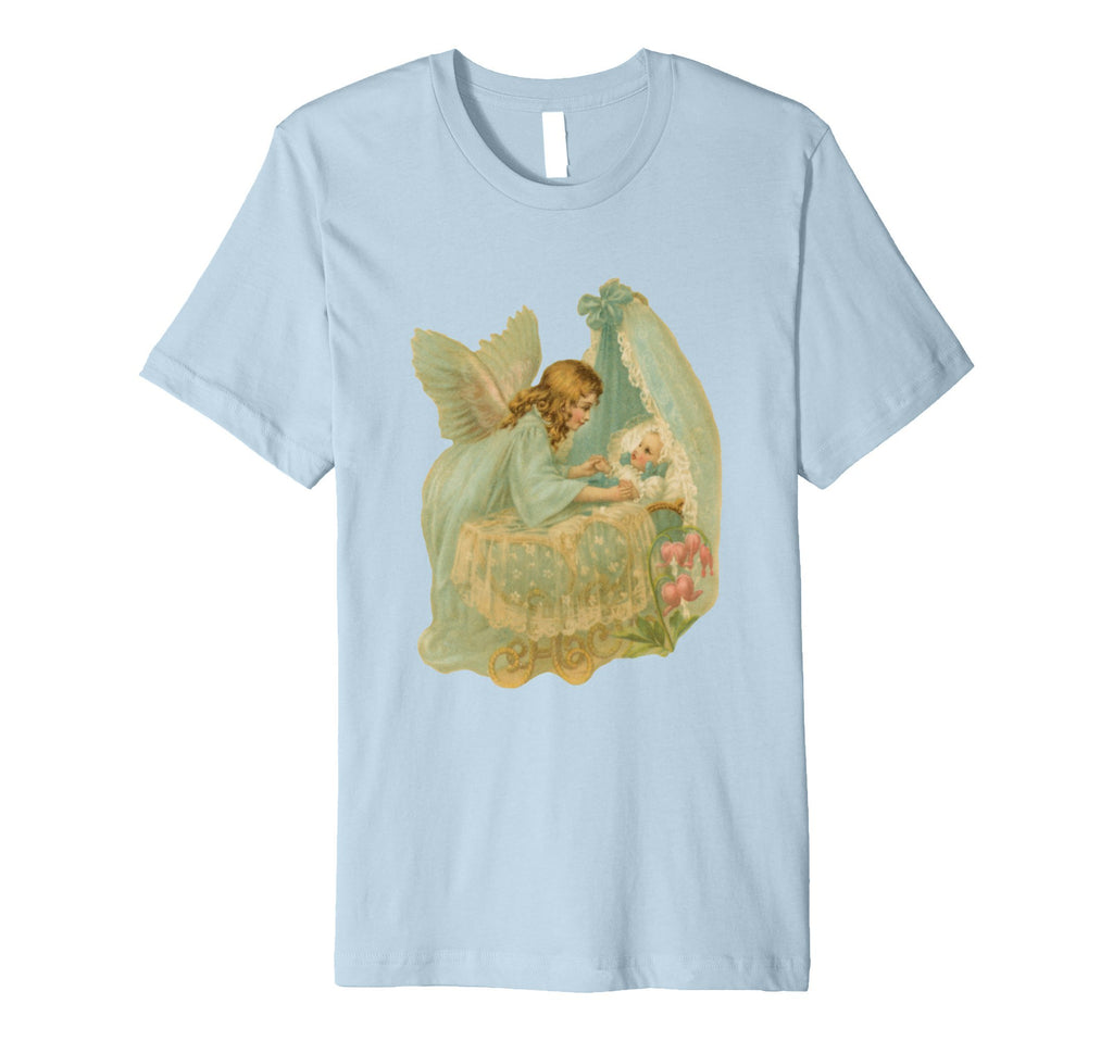 Unisex Cotton Tee Premium T-shirt Angel over Bassinet Baby Blue