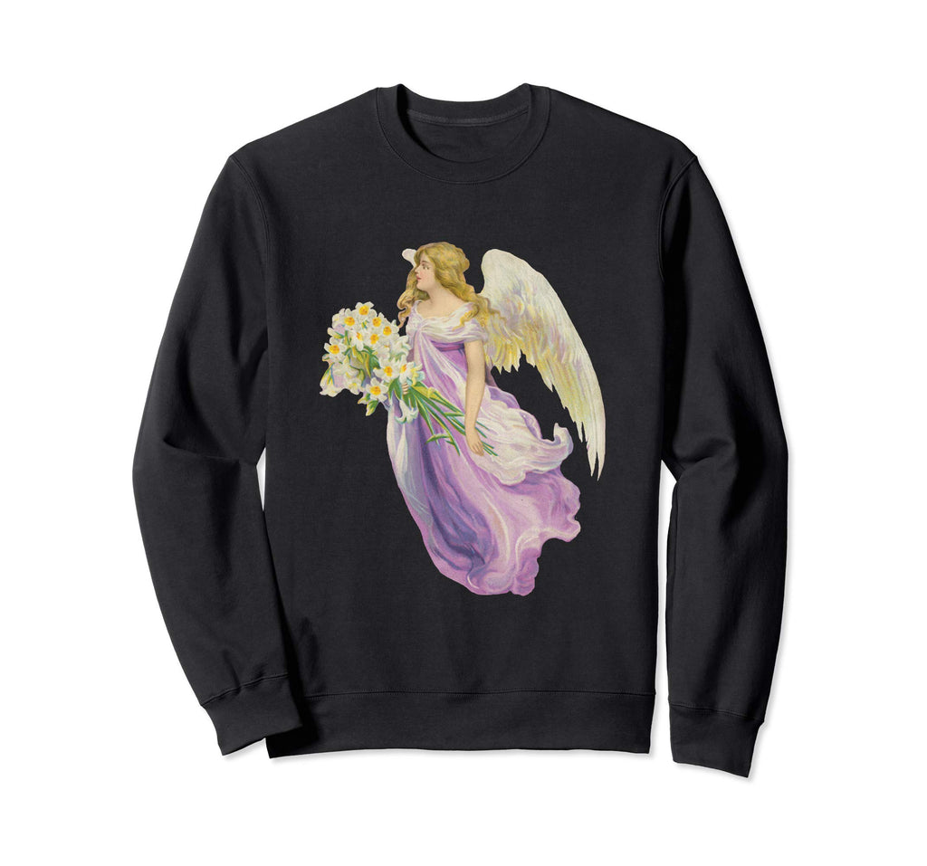 Unisex Crewneck Sweatshirt Angel in Purple with Lilies Black
