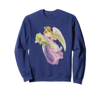 Unisex Crewneck Sweatshirt Angel in Purple with Lilies Navy