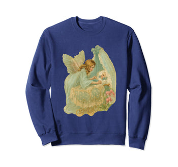 Unisex Crewneck Sweatshirt Angel over Bassinet Navy