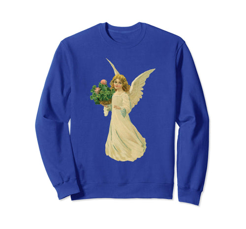 Unisex Crewneck Sweatshirt Angel with Clover Royal Blue