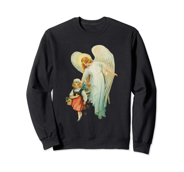 Unisex Crewneck Sweatshirt Guardian Angel with Girl Black