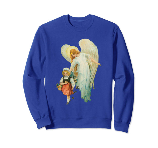 Unisex Crewneck Sweatshirt Guardian Angel with Girl Royal Blue