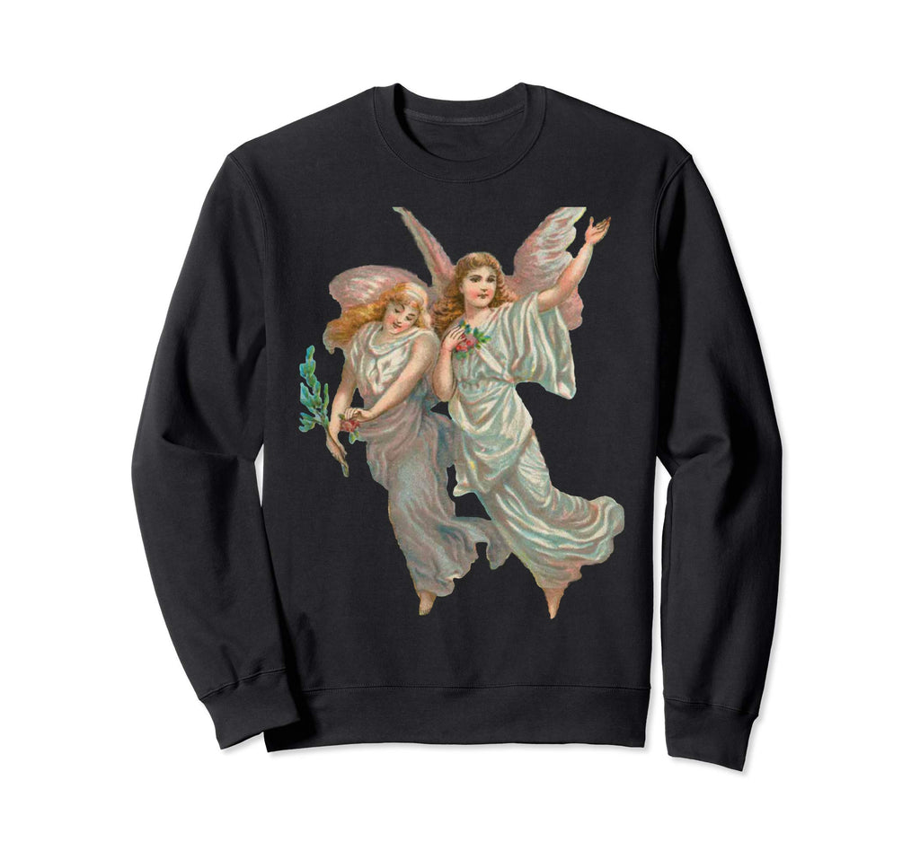 Unisex Crewneck Sweatshirt Heavenly Angel Art Black