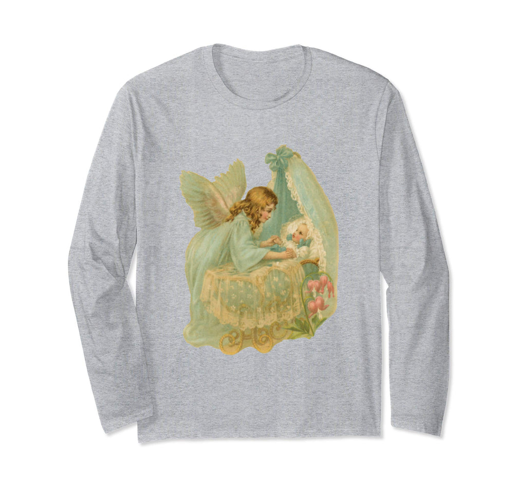 Unisex Long Sleeve T-Shirt Angel over Bassinet Heather Grey