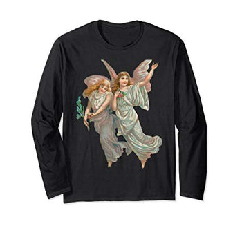 Unisex Long Sleeve T-Shirt Heavenly Angel Art in Black