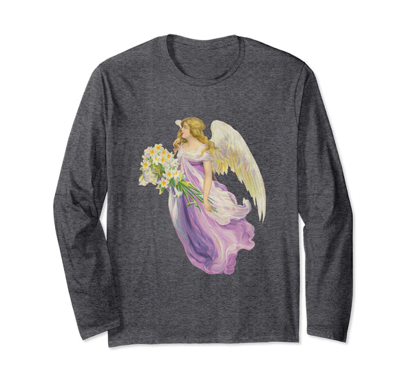 Unisex Long Sleeve T-Shirt Angel in Purple with Lilies Grey