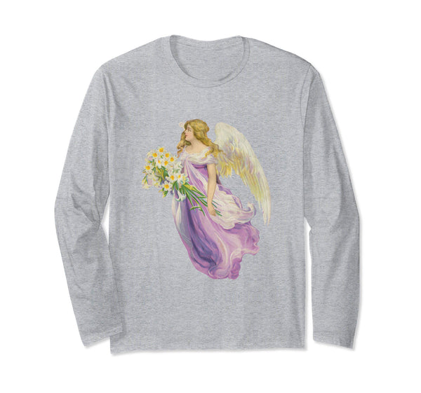 Unisex Long Sleeve T-Shirt Angel in Purple with Lilies Heather Grey