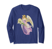 Unisex Long Sleeve T-Shirt Angel in Purple with Lilies Navy