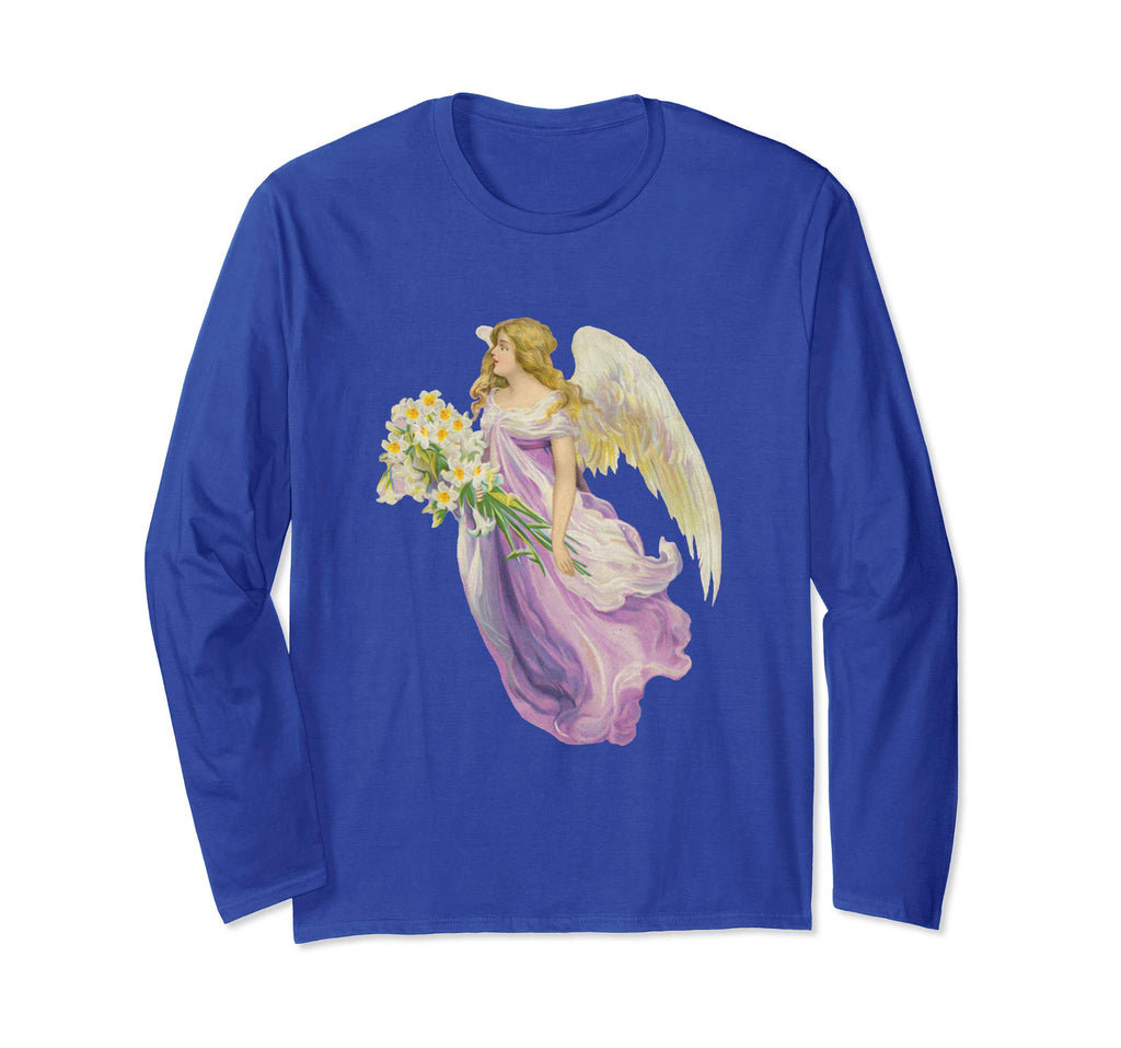 Unisex Long Sleeve T-Shirt Angel in Purple with Lilies Royal Blue