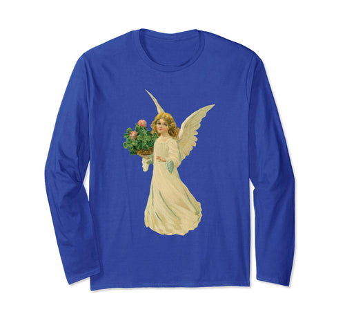 Unisex Long Sleeve T-Shirt Angel with Clover Royal Blue