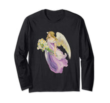 Unisex Long Sleeve T-Shirt Angel in Purple with Lilies Black